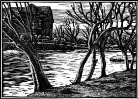 wood-engraving original print: November for Time and Tide calendar